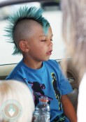 Kingston Rossdale with a blue mowhawk