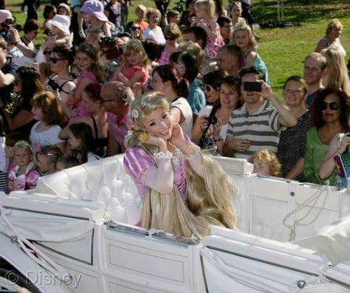 Rapunzel arrives at Disney's Rapunzel's Royal Celebration event in Kensington Gardens in central London