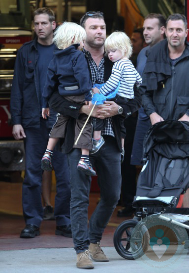 Liev Schreiber with his boys Sammy and Sasha at the firehouse in NYC
