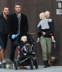 Naomi Watts and Liev Schreiber with their boys Sammy and Sasha