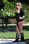 Pregnant Hilary Duff at the park