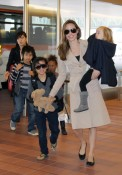 Angelina Jolie with daughter Vivienne and sons Maddox and Pax