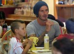 David and Cruz Beckham at Color Me Mine