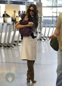 Victoria and Harper Beckham at LAX