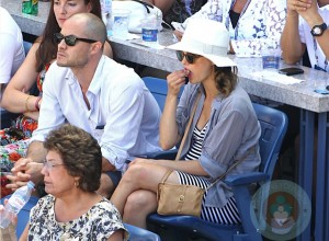 Pregnant Keri Russell and Shane Deary  At US Open 3