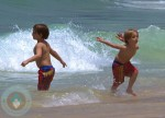 Sean P & Jayden James Federline swim the Beach in Rio