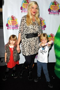 Tori Spelling with Liam and Stella at Yo Gabba Gabba!