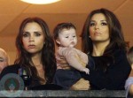 Eva Longoria with Victoria and Harper Beckham at LA Galaxy Game