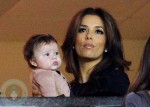Eva Longoria with Harper Beckham at LA Galaxy Game