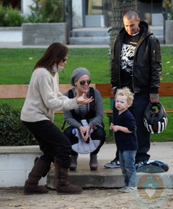 Pink and Carey Hart hang out at the park with Minnie Driver and son Henry