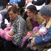 Brighton Moms Brave the Cold and Stage a Flashmob Demonstration