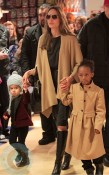 Angelina Jolie with daughters Zahara and Vivienne at FAO Schwartz in NYC