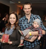 Autumn Reeser and husband Jesse Warren with son Finn at Secret Santa Event