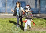 Kingston & Zuma Rossdale playing at the park in LA