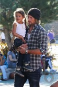 Gabriel Aubry and daughter Nahla Play at the park
