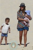 Jessica Alba with daughter Honor and Haven in Cabo San Lucas