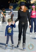 Marcia Cross with her daughter skating