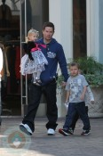 Mark Wahlberg with his kids at the Grove