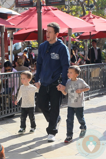 Mark Wahlberg With His Sons Brendon And Michael At The