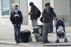 Neil Patrick Harris & David Burtka with twins Harper &Gideon in NYC