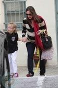 Pregnant Jennifer Garner with daughter Violet at Karate