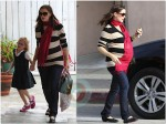 Pregnant Jennifer Garner with daughter Violet in LA
