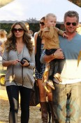 Pregnant Rebecca Gayheart, her husband Eric Dane and daughter Billie pumpkin hunting