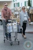 Pregnant Rebecca Gayheart grocery shopping with husband Eric Dane