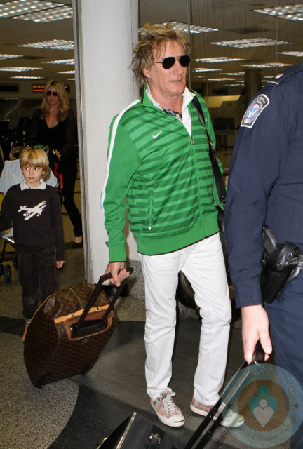 Rod Stewart and Penny Lancaster with son Alastair at MIA - Growing Your Baby