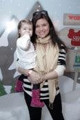 Tiffani Thiessen and daughter Harper at Santa's Secret Workshop