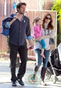 Alyson Hannigan & Alexis Denisoff with daughter Satyana at the market