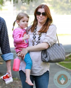 Alyson Hannigan with daughter Satyana at the market