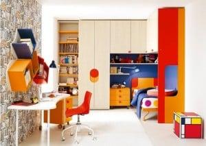 Battistella Klou XL loft bed creme orange