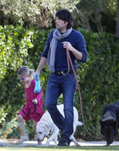 Ben and Violet Affleck walking the dogs on New Years Day