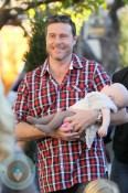 Dean McDermott with daughter Hattie filming at the Grove