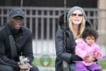 Heidi Klum and Seal with daughter Lou at the park