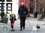 Hugh Jackman with his daughter Ava and their French Bulldog Pup Peaches