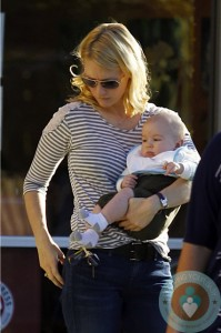 January Jones and her son Xander out in LA