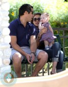 Jessica Alba and Cash Warren with daughter Honor at the park