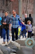 Keri Russell and Shane Deary with their kids stroll in Brooklyn