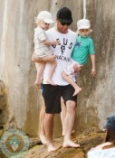 Liev Schreiber with sons Sasha and Sammy at the beach in Australia