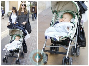 Monet Mazur with son Luciano at the Grove