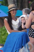Myleene Klass with her daughter Hero in Barbados