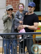 Olivier Martinez, Halle Berry and Nahla Aubry watch the parade at Disneyland