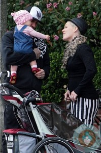 Pink and Carey Hart with Willow at the beach