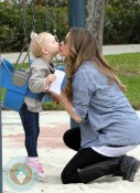 Rebecca Gayheart kisses her daughter Billie at Coldwater Canyon Creek Park
