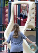 Rebecca Gayheart plays with daughter Billie @ Coldwater Canyon Creek Park