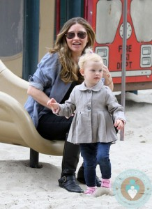 Rebecca Gayheart plays with daughter Billie at Coldwater Canyon Creek Park