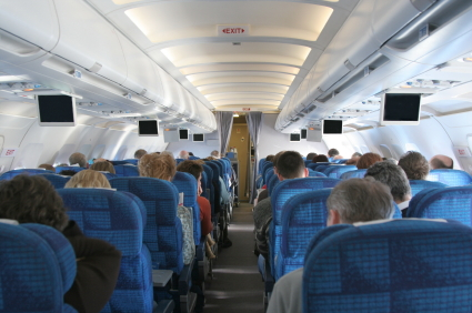 Inside airplane
