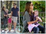 jessica alba and her family play at the park